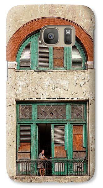 Galaxy Case featuring the photograph Cuban Woman On San Pedro Balcony Havana Cuba by Charles Harden
