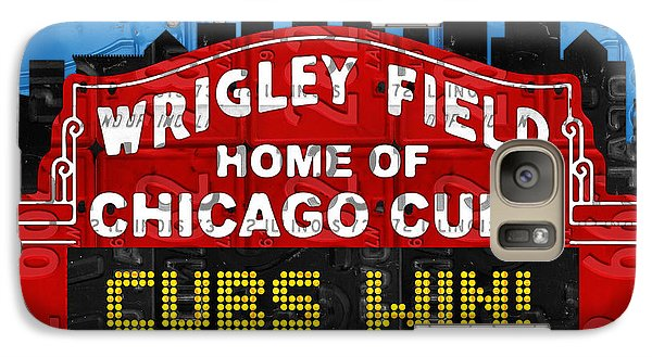 Cubs Win Wrigley Field Chicago Illinois Recycled Vintage License Plate Baseball Team Art Galaxy S7 Case