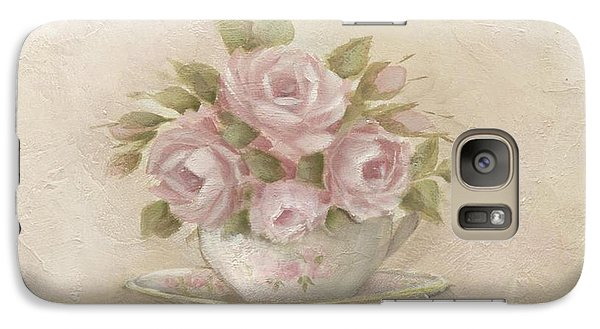 Galaxy Case featuring the painting Cup And Saucer  Pink Roses by Chris Hobel