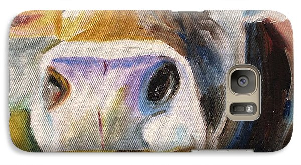 Galaxy Case featuring the painting Curious Cow by Donna Tuten