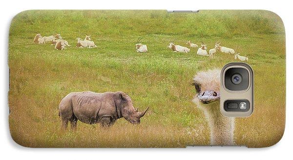 Ostrich Galaxy S7 Case - Curious Ostrich And White Rhino by Tom Mc Nemar