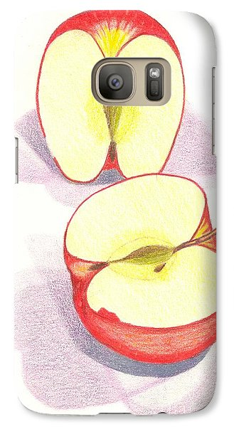 Galaxy S7 Case featuring the drawing Cut Apple by Rod Ismay