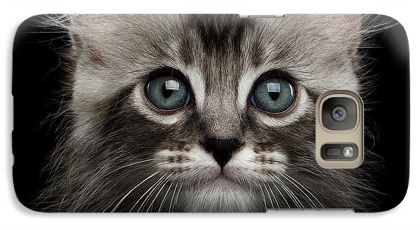 Cute American Curl Kitten With Twisted Ears Isolated Black Background Galaxy S7 Case by Sergey Taran