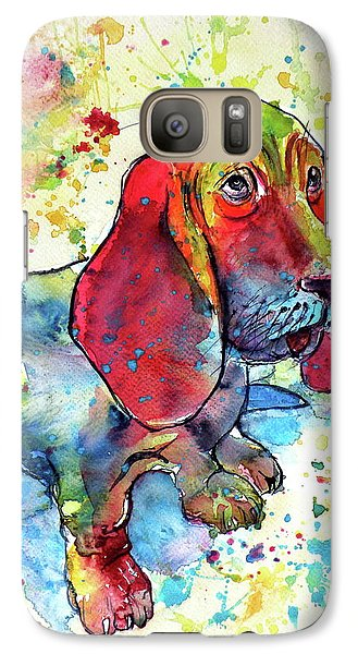 Galaxy Case featuring the painting Cute Basset Hound by Kovacs Anna Brigitta
