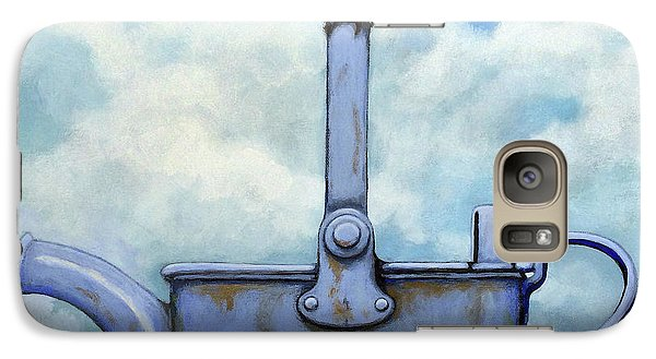 Galaxy Case featuring the painting Cute Blue-tit Realistic Bird Portrait On Antique Watering Can by Linda Apple