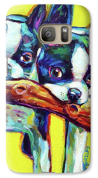 Galaxy Case featuring the painting Cute Boston Terriers by Robert Phelps