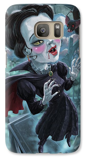 Galaxy Case featuring the digital art Cute Gothic Horror Vampire Woman by Martin Davey