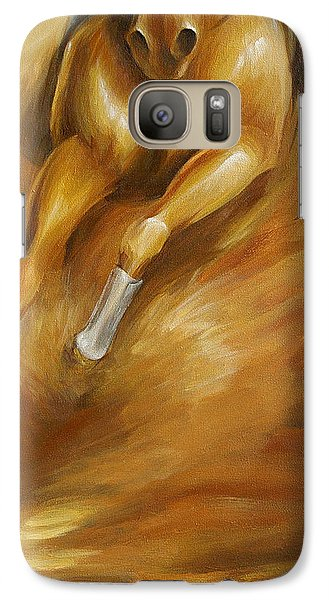 Galaxy Case featuring the painting Cutting Horse Closeup 1 by Dina Dargo