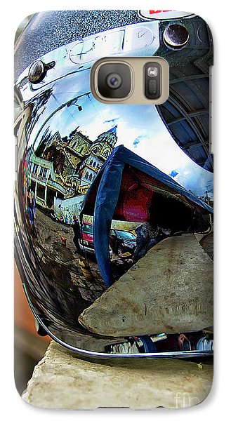 Galaxy Case featuring the photograph Cyclist's View Of Biblian Church by Al Bourassa