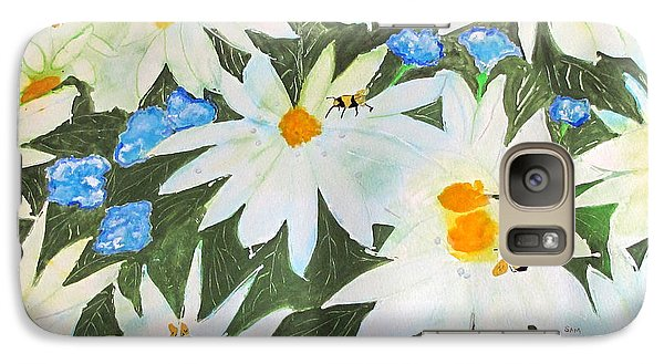 Galaxy Case featuring the painting Daisies And Bumblebees by Sandy McIntire