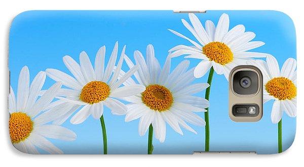 Daisy Galaxy S7 Case - Daisy Flowers On Blue by Elena Elisseeva