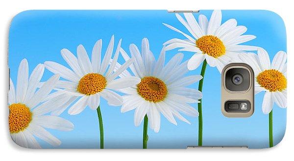 Daisy Flowers On Blue Galaxy S7 Case by Elena Elisseeva