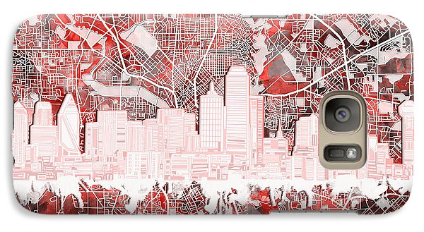 Dallas Skyline Map Red 2 Galaxy S7 Case