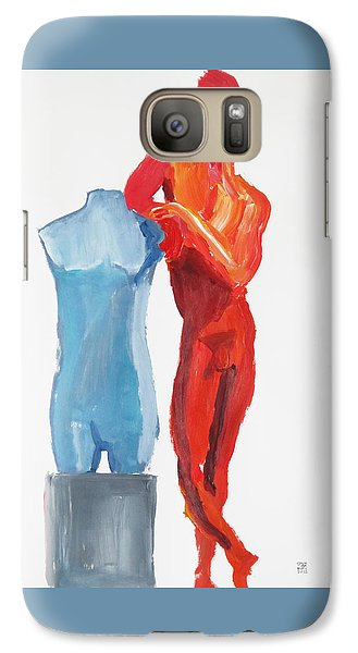 Galaxy Case featuring the painting Dancer With Mannekin by Shungaboy X