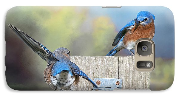 Galaxy Case featuring the photograph Dancing Bluebirds by Bonnie Barry