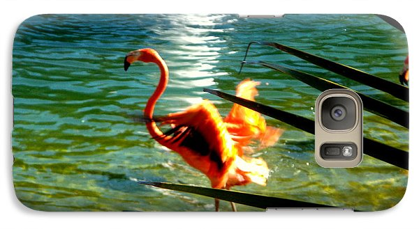 Galaxy Case featuring the painting Dancing Flamingo by Yolanda Rodriguez