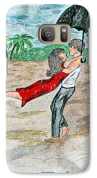 Galaxy Case featuring the painting Dancing In The Rain On The Beach by Kathy Marrs Chandler