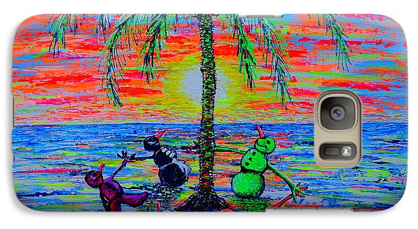 Galaxy Case featuring the painting Dancing Snowman by Viktor Lazarev