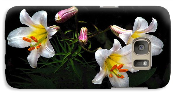 Galaxy Case featuring the photograph Dark Day Bright Lilies by Byron Varvarigos