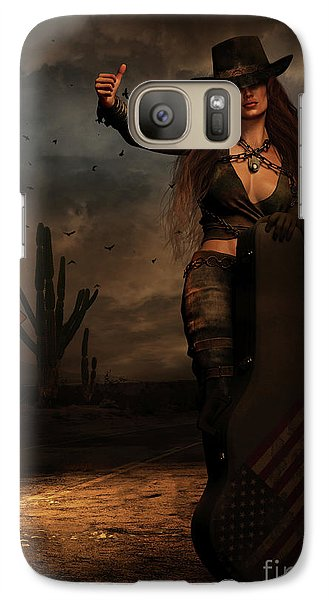 Galaxy Case featuring the digital art Dark Desert Highway by Shanina Conway