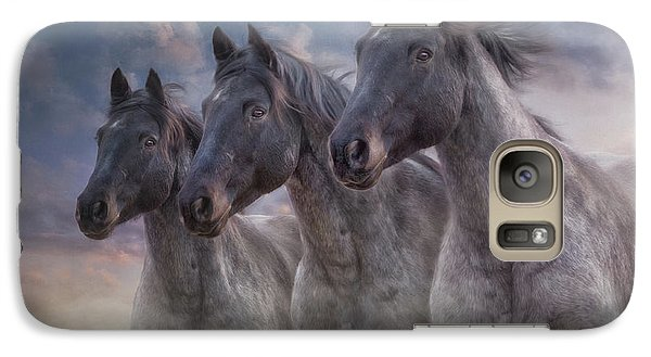 Galaxy Case featuring the photograph Dark Horses by Debby Herold