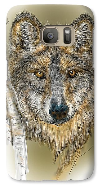 Galaxy Case featuring the digital art Dark Wolf With Birch by Darren Cannell