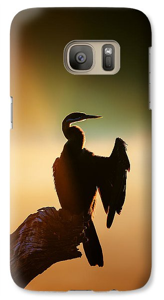 Anhinga Galaxy S7 Case - Darter Bird With Misty Sunrise by Johan Swanepoel