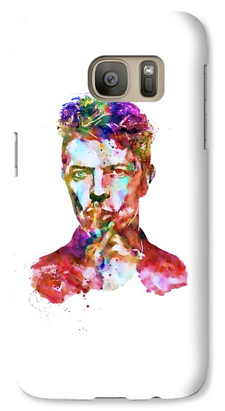 Galaxy Case featuring the mixed media David Bowie  by Marian Voicu