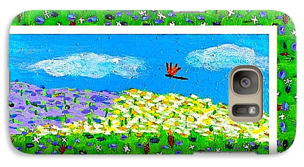 Galaxy Case featuring the painting Day And Night In A Sunflower Field With Floral Border by Angela Annas