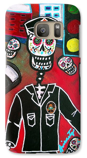 Galaxy Case featuring the painting Day Of The Dead Policeman by Pristine Cartera Turkus