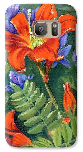 Galaxy Case featuring the painting Daylilies by Renate Nadi Wesley