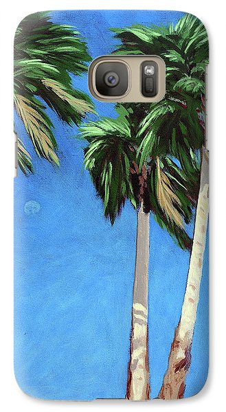 Galaxy Case featuring the painting Daytime Moon In Palm Springs by Linda Apple