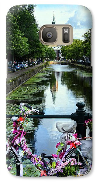 Galaxy Case featuring the photograph Canal And Decorated Bike In The Hague by RicardMN Photography