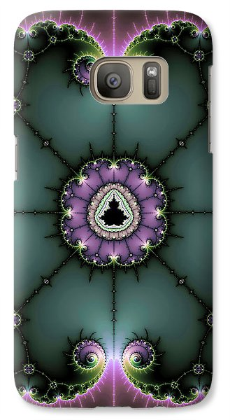 Galaxy Case featuring the digital art Decorative Fractal Art Purple And Green by Matthias Hauser