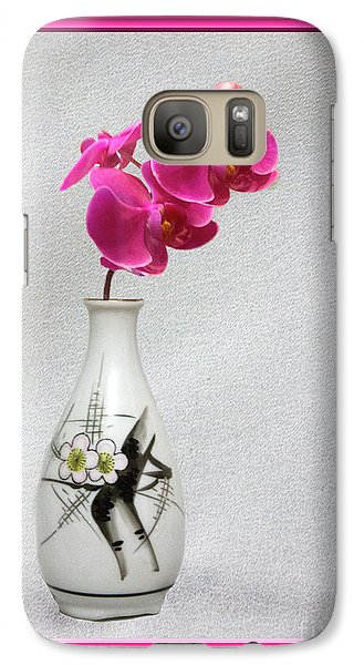 Galaxy Case featuring the photograph Deep Pink  Orchids by Linda Phelps