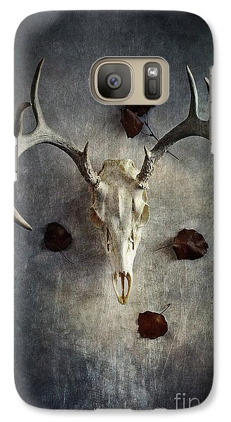 Galaxy Case featuring the photograph Deer Buck Skull With Fallen Leaves by Stephanie Frey