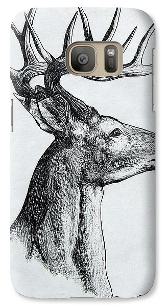 Galaxy Case featuring the drawing Deer by Michael  TMAD Finney