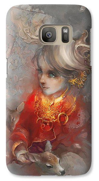 Galaxy Case featuring the digital art Deer Princess by Te Hu