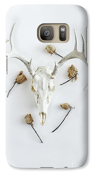 Galaxy Case featuring the photograph Deer Skull With Antlers And Roses by Stephanie Frey