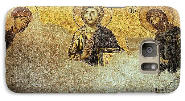 Galaxy Case featuring the photograph Deesis Mosaic Hagia Sophia-christ Pantocrator-judgement Day by Urft Valley Art
