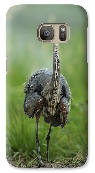 Galaxy Case featuring the photograph Defensive Great Blue Heron by Angie Vogel
