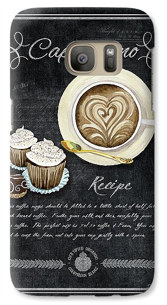 Galaxy Case featuring the painting Deja Brew Chalkboard Coffee 3 Cappuccino Cupcakes Chocolate Recipe  by Audrey Jeanne Roberts
