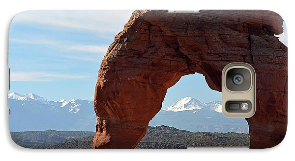 Galaxy Case featuring the photograph Delicate Arch With Wispy Clouds by Bruce Gourley