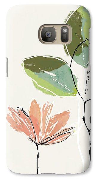 Peach Galaxy S7 Case - Delicate Flower- Art By Linda Woods by Linda Woods