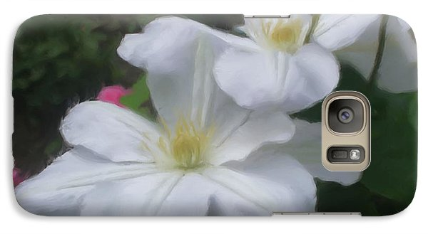 Galaxy Case featuring the painting Delicate White Clematis Pair by Smilin Eyes  Treasures