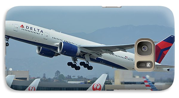 Galaxy Case featuring the photograph Delta Boeing 777-232lr N703dn Los Angeles International Airport May 3 2016 by Brian Lockett