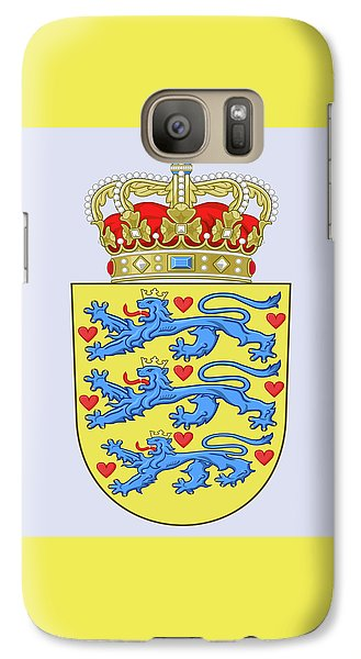 Galaxy Case featuring the drawing Denmark Coat Of Arms by Movie Poster Prints