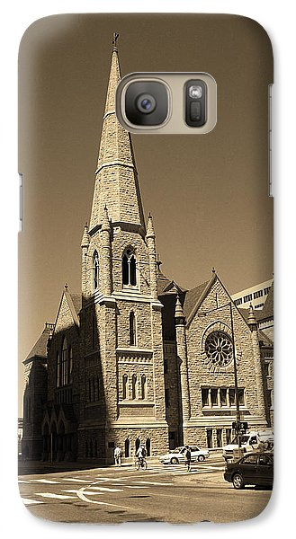 Galaxy Case featuring the photograph Denver Downtown Church Sepia by Frank Romeo