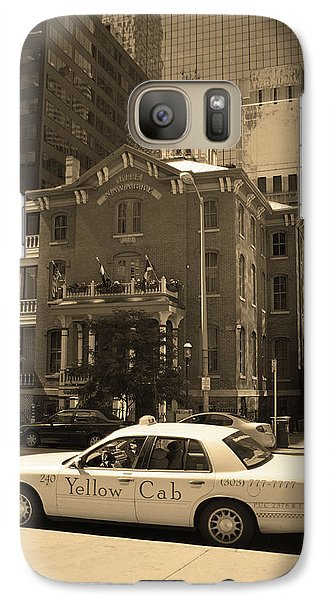 Galaxy Case featuring the photograph Denver Downtown With Yellow Cab Sepia by Frank Romeo