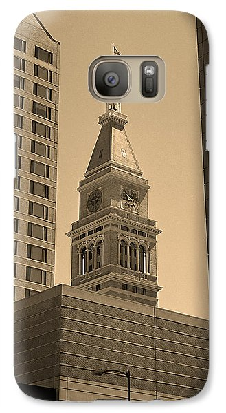Galaxy Case featuring the photograph Denver - Historic D F Clocktower 2 Sepia by Frank Romeo